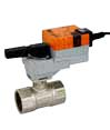 Control ball valves with rotary actuator